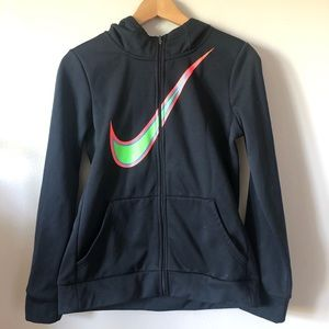 Nike girls dri-fit zip up hoodie with swoosh